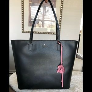Kate spade black leather tote NEW